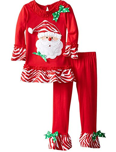 UNIQUEONE 2PCS Toddler Baby Girls Christmas Outfits Cartoon Deer Long Sleeve Top Pants Set