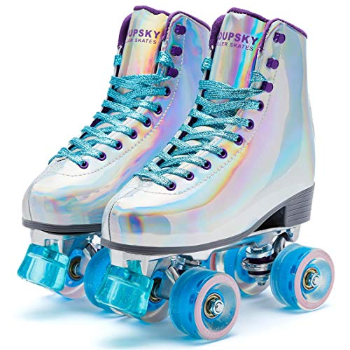 Goupsky Roller Skates for Women Youth High-Top 4 Wheels Quad Skates Shoes for Outdoor & Indoor Silver 8