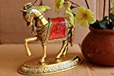 ✦ Product: Metal red horse perfect for Vastu showpiece and home decorations. ✦ Material: Metal. ✦ Color: Gold. ✦ Product dimensions: 4x2x4 (LxBxH) inch. ✦ High quality product to adorn your home with this enchanting statue. Perfect showpiece for Diwa...