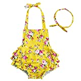 China Rose 50's Floral Ruffles Rompers Backless Dress Bathing Suit Swimwear (Large (2-4 Years Old), Yellow)