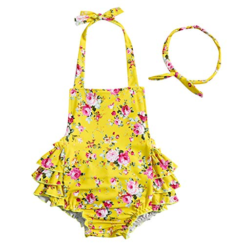 China Rose 50's Floral Ruffles Rompers Backless Dress Bathing Suit Swimwear (Medium,Yellow)