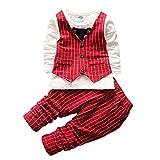 Morbuy Babyanzug Jungen, Weihnachten Gentleman Baby 2pcs Smoking für Jungen Kleinkind Kleidung Gentleman Gesamt Baumwolle Langarm Bowknot Plaid Streifen Drucken Baby Taufe Hochzeit (3T 110CM, Rot)