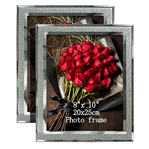 Calenzana 8x10 Picture Frames Sparkle Glass Photo Frame, Freestanding, 8 x 10 inch, 2 Pack