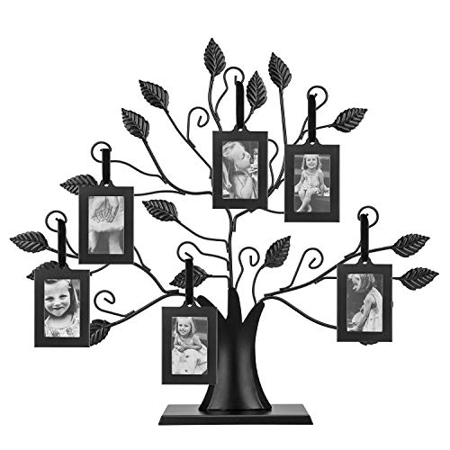 LCFOMQ Metal Family Tree Picture Frame Display Photo Frame with 6 Hanging...