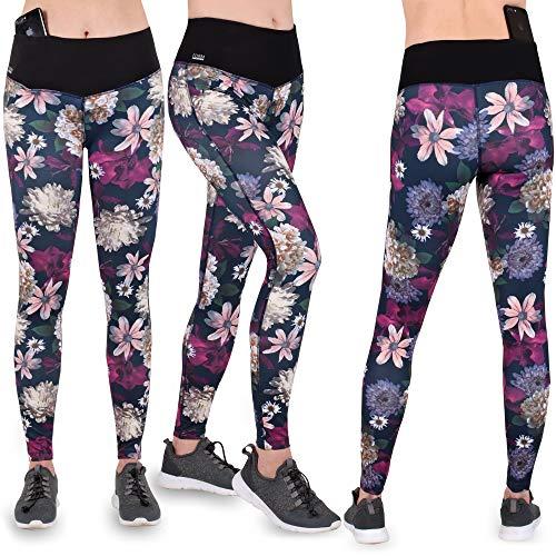 Formbelt® Damen Laufhose mit Tasche lang - Leggins Stretch-Hose Hüfttasche für Smartphone iPhone Handy Schlüssel (Flower XL)