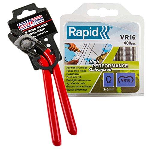Sealey HRP002 Hog Ring Pliers (Pistol Grip) Kit with Rapid VR16 Standard Fence Hog Rings