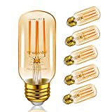 Emotionlite LED Light Bulbs, E26 Dimmable Vintage Edison Tubular Bulb, 40W Equivalent, Amber Yellowish, 4W, 2200K, 300LM, Medium Base, UL Listed, 6 Pack