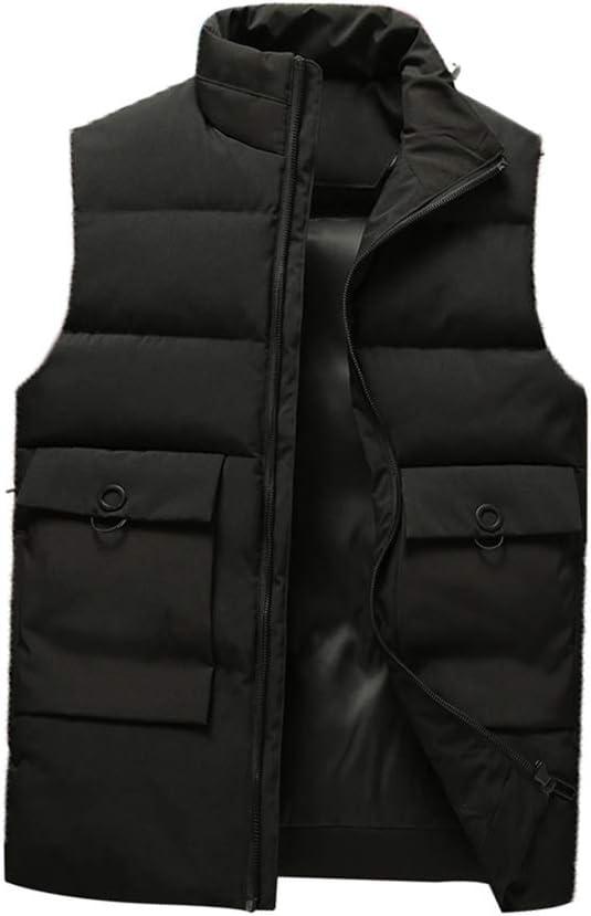 Men's Vest Quilted Lightweight Ultra Loft Vest Water Repellant Down Vest Stand Collar Winter Coat Waistcoat (Color : Black, Size : X-Large)