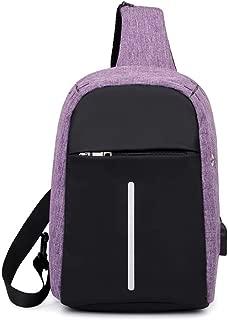 YXHM AU Chest Bag Unisex Messenger Bag Canvas Shoulder Chest Bag Casual Pockets (Color : Purple)