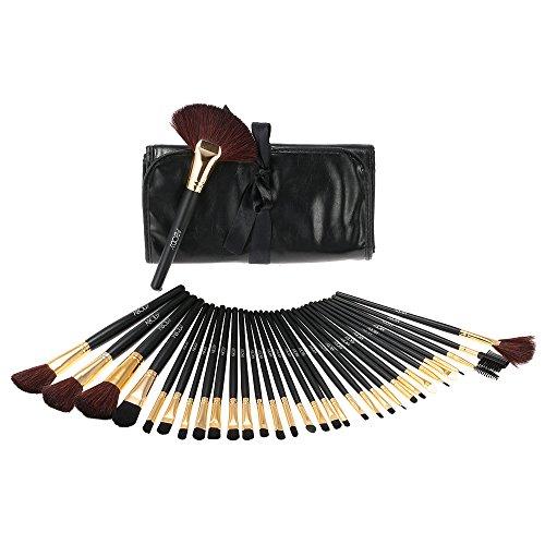 Abody Lot de 32 pinceaux professionnels en bois pour maquillage et produits de beauté + trousse