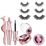 Magnetic Eyelashes,3 Pairs No Glue Reusable Silk False Lashes Magnetic Eyeliner and Lashes With Tweezers, Waterproof magnetic eyeliner, 0.2mm Ultra Thin Magnet 5d Magnetic Lashes Kit For Natural