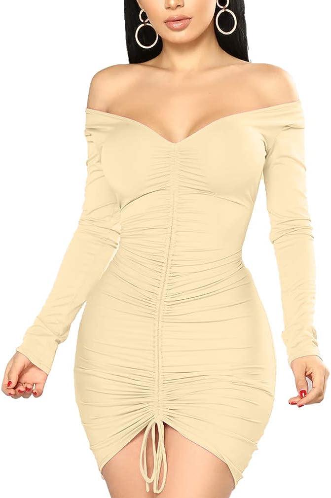XXTAXN Women's Sexy Elegant Long Sleeve Off The Shoulder Ruched Mini Dress