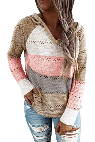 FEKOAFE Womens Fashion Striped Color Block V-Neck Hoodies Loose Chunky Knitted Pullover Jumper Tops Khaki XL