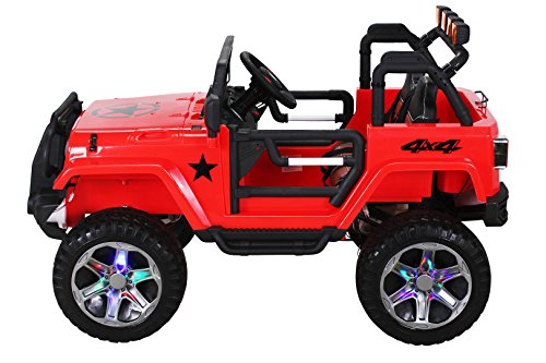 RC Kinderauto kaufen Kinderauto Bild 1: Actionbikes Motors Kinder Elektroauto Wrangler Offroad Jeep ALLRAD 2-Sitzer 4 x 35Watt 2x10AH Batterie Eva Reifen 4x4 (Rot)*