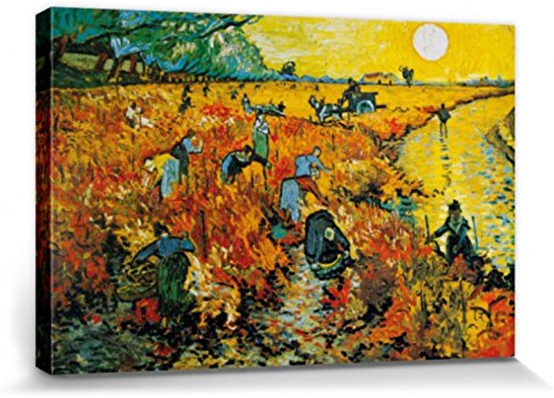 1art1 57325 Vincent Vincent Vincent Van Gogh - Der Rote Weingarten, 1888 Poster Leinwandbild Auf Keilrahmen 120 x 80 cm B005MUAWJC 5ce6f2