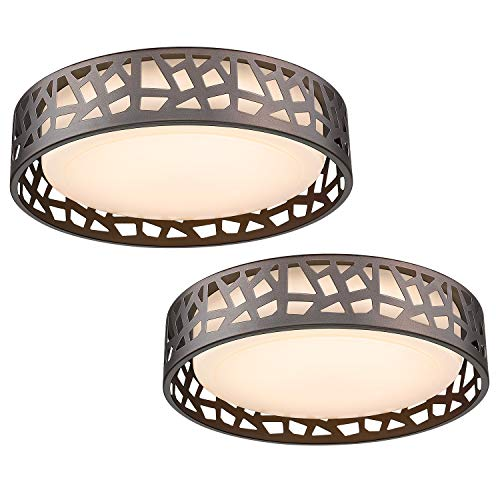 LED Flush Mount Ceiling Light 2 Pack, VICNIE 14 Inch 20W Dimmable Round Deco Lighting Fixture Oil Rubbed Bronze Finished,1400 Lumens 3000K Warm White, ETL Listed Metal Body White Acrylic Lampshade