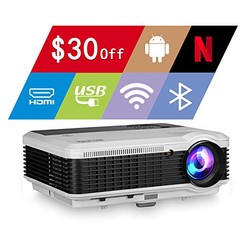 EUG WiFi Projector 5000lumen Android Bluetooth LCD Home Theatre Projector with Android OS HDMI 1080P Outdoor Movie Gaming, Wireless Screen Share with iPhone