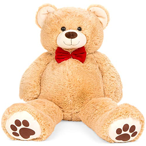 Best Choice Products 38in Giant Super Soft Plush Cuddly Teddy Bear Stuffed Animal Toy for Bedroom, Kids Playroom w/Bow Tie, Footprints - Brown