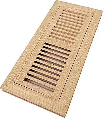 Homewell Red Oak Wood Floor Register Vent, Flush Mount with Frame, 4x12 Inch, Unfinished