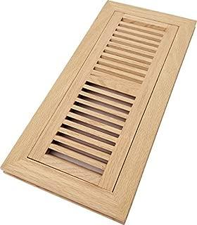 Homewell Red Oak Wood Floor Register Vent, Flush Mount with Frame, 4x12 Inch, Unfinished