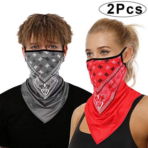 onehous Bandana Gesichtsmaske für Damen/Herren, Unisex, multifunktional, Outdoor-Maske, Schal, Sturmhaube mit Ohrschlaufen, elastisch, atmungsaktiv, waschbar, für Outdoor, Motorrad