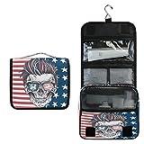 ALARGE - Bolsa de aseo para colgar con diseño de calavera de Halloween y bandera de EE. UU.