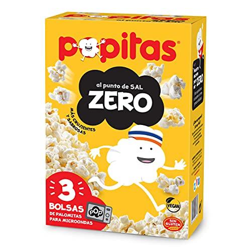 Popitas Zero - Palomitas Saladas para Microondas, Sin Gluten Ni Materia Grasa Añadida - Pack de 3 Bolsas de 70 g.