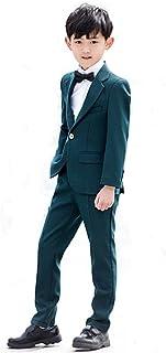 HIMOE フォーマルスーツ 男の子 ビリジアン おしゃれ 五点セット サスペンダー贈り フォーマルウエア 紳士服 ジュニア 入学式 入園式 卒業式 誕生日 発表会 演出 演奏会 結婚式 七五三 (130サイズ)