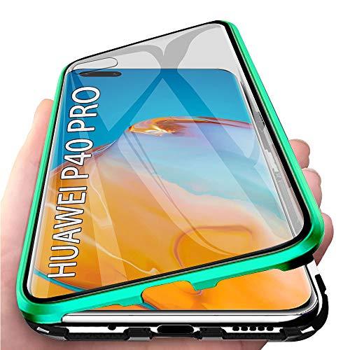 Kompatibel mit Huawei P40 Pro Hülle, Schutzhülle Magnetische Adsorption Metallrahmen und Panzerglas Handyhülle Ultra Slim Dünn Durchsichtig Transparent 360 Grad Full Body Protection - Nachtgrün