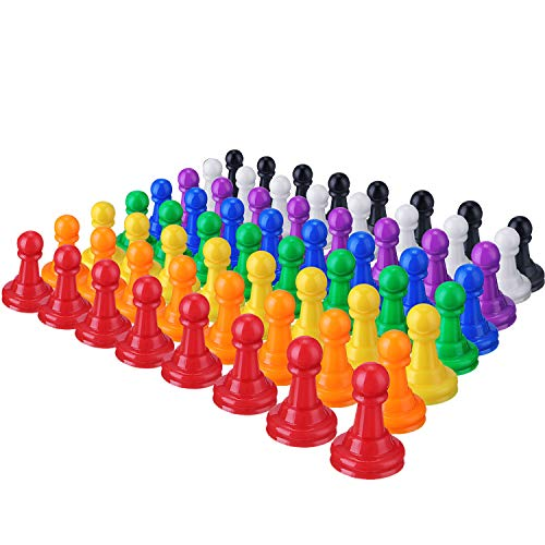 64 Pieces Multicolor Plastic Pawns Pieces Board Games Pieces, 1 Inch Game Pawns Tabletop Pieces Tabletop Markers