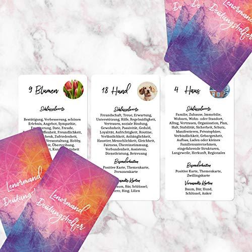 Lenormand Deutungshelfer - Kartendeck mit 36 Lernkarten / Übungskarten - alle Bedeutungen der Lenormandkarten auf einen Blick