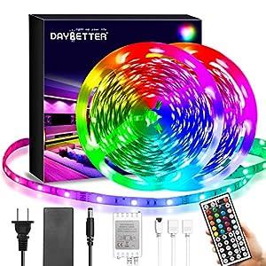 Daybetter Led Strip Lights 40ft, RGB Color Changing Led Strips with 44 Keys Remote Control for Room, Bedroom, Kitchen Decoration