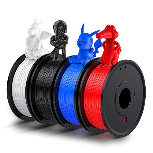 3D Printer PLA Filament 1.75mm, LABISTS Plastic 3D Printing PLA Filament Bundle Flexible Materials 1kg/2.2lb, 0.25KG/Spool 4 Colors (White, Red, Black, Blue)