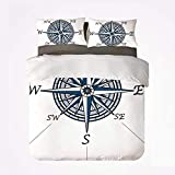 Popun Juego de Funda nórdica Compass Soft Juego de Cama de 3 Piezas, Color mar temático Voyage Windrose Discovery Marine Design Obra de Arte Decorativa para Dormitorio
