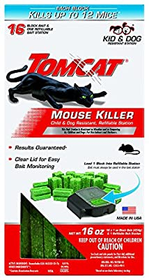 Tomcat Mouse Killer Refillable Station for Indoor/Outdoor Use - Child and Dog Resistant (1 Station with 16 Baits)