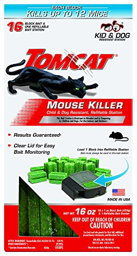 Tomcat Mouse Killer Refillable Station for Indoor/Outdoor Use - Child and Dog Resistant, 1 Station with 16 Baits (Box)