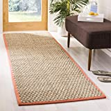 Safavieh Natural Fiber Collection NF114Y Basketweave Natural and Rust Summer Seagrass Area Rug (2' x 3')