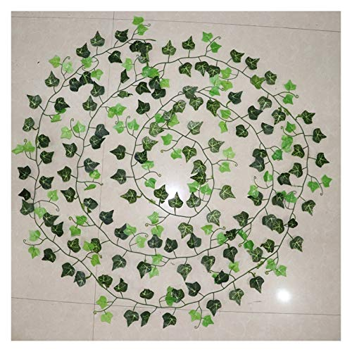 KEHUITONG PSWK 100pcs Leaf 1 Piece 2.4M Home Decor Artificial Ivy Leaf Garland Plants Vine Fake Foliage Flowers Creeper Green Ivy Wreath (Color : Beige)