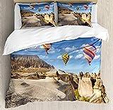 Juego de fundas nórdicas coloridas, vista del paisaje rocoso en Capadocia, Turquía e imagen de globos aerostáticos voladores, juego de cama decorativo de 3 piezas con 2 fundas de almohada, multicolor