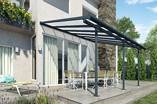 Hochwertige ALU Terrassenüberdachung/Veranda - 420 x 300 (BxT) / Überdachung Palram Sierra Grau