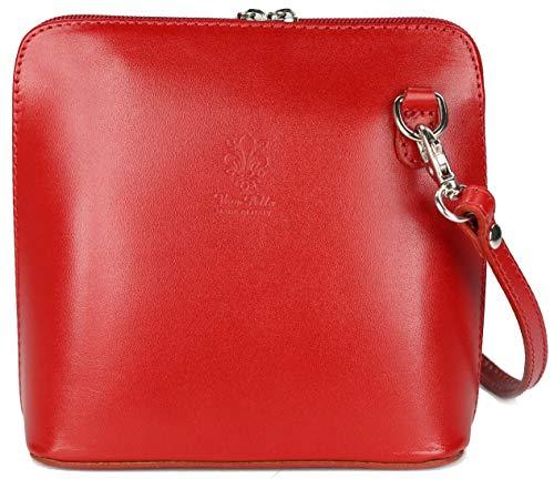 Belli ital. Ledertasche Damen Umhängetasche Handtasche Schultertasche - 17x16,5x8,5 cm (B x H x T) (Rot)