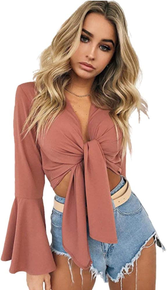 ROVLET Challenge the lowest price of Japan Women's Chiffon Deep V Neck Outstanding Self Tie Front Tops Cove Crop