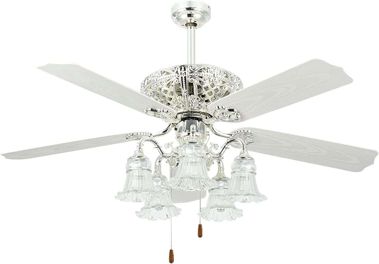 Buy Tropicalfan 52 Antique Ceiling Fan With Light Elegant Chandelier Fan With Remote Vintage Electrical Fan With 5 Plastic Blades For Indoor Living Room Home Decorations White Online In Indonesia B073s54j95