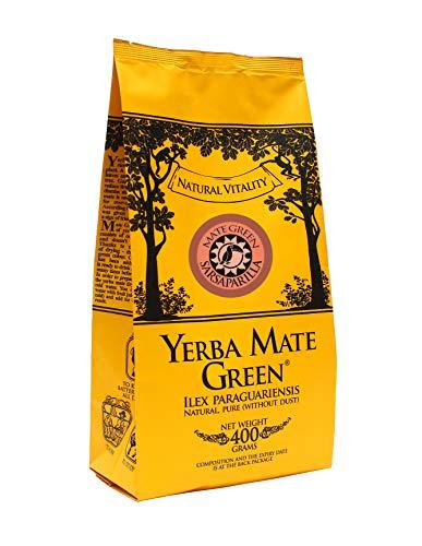 Yerba Mate Green 'Sarsaparilla' Brasilianischer Mate-Tee 400g   Süß und Erfrischend Mate Tee   mit Sarsaparillablätter, Zitronengras   Hohe Qualität   Stark anregender MateTee   Orangenschalen 