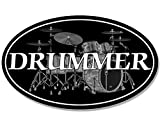 American Vinyl Oval Drummer Sticker (Drums Band Decal Music Musician)