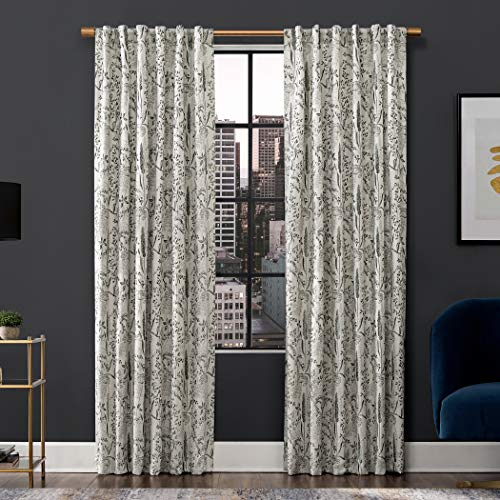 """Scott Living Aubry Shimmering Floral 100% Blackout Back Tab Curtain Panel, 52"""" x 96"""", Gray"""