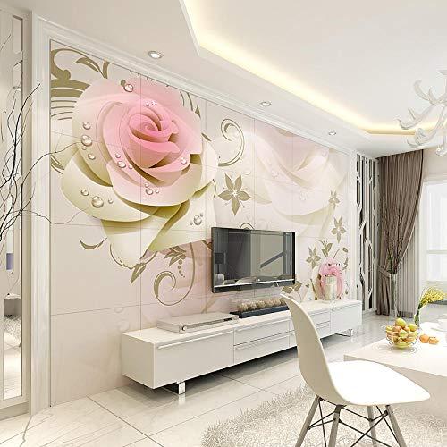 XHXI Shannuoer 3D Fondo de azulejo de cerámica de estilo europeo Tallado en la pared Sala de estar Fondo de TV Azulejo de p papel Pintado de pared tapiz Decoración dormitorio Fotomural-400cm×280cm