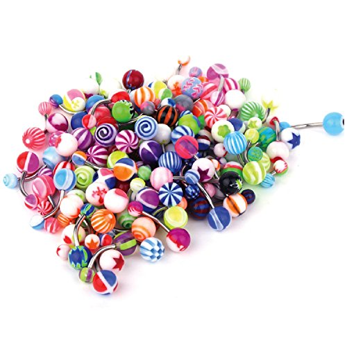 BodyJ4You Assorted Lot of 100 Belly Button Rings 14G (1.6mm) Curved Banana Barbell Navel Piercing Jewelry
