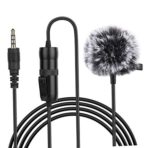 Blesiya Micrófono de Solapa Lavalier Set Completo micrófono omnidireccional para Ordenador de sobremesa, Smartphone, DSLR, videocámara para Podcast, Vlogging - Omni-dirección 6M