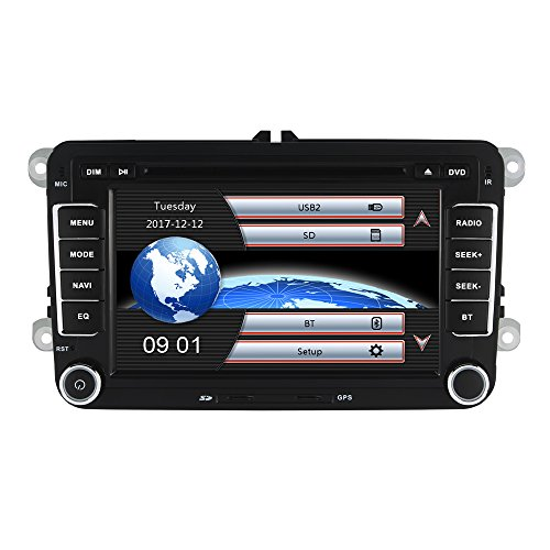 AUMUME 2 Din Autoradio mit Navi für VW Golf Polo Seat, Unterstützt Touch Screen DVD GPS Navigation Radio Bluetooth Park Kamera Lenkrad Bedienung 1080P Video 8GB Kartenmaterial